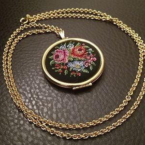 VTG Avon needlepoint locket necklace